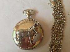 C15 Donkey polished silver case mens GIFT quartz pocket watch fob