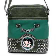 Classic Betty Boop?Signature Messenger Bag w/ Rhinestone & Stud Accents - Green