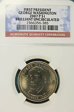 2007-P NGC Brilliant UNC. George Washington Presidental Dollar!!! #KH1