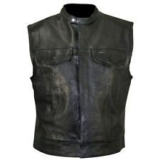 Gilet Pelle Colletto Chiusura Zip Bottoni Stile Sons Vest Leather Biker Tg M