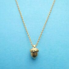 FREE PEOPLE ACORN Woodland TINY Delicate Necklace 18k Gold Minimal NEW