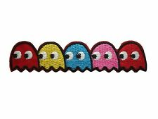 Pacman Iron On Sew On Ghost Cartoon Gamer Shirt Bag Hat Embroidered Badge Patch
