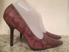 Authentic Gucci Pumps Heel Sandals Leather Lizard Pink Multi 9 B Italy