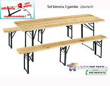SET BIRRERIA TAVOLO LEGNO CON PANCHE CM 220X80X77 3 GAMBE