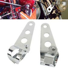 2x Support Patte de Feu Phare Avant Optique Mount Bracket Moto Chrome 28mm-45mm
