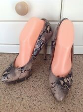 EYE CATCHING TOPSHOP ANIMAL PRINT HIGH HEEL COURT SHOES PLATFORM UK SIZE 8 WORN