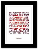 ONE DIRECTION One Way ❤ song lyrics typography poster art print - A1 A2 A3 or A4