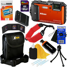 Nikon COOLPIX AW130 Waterproof Wi-Fi GPS Digital Camera,Orange +Battery+16GB Kit