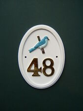 MOUNTAIN BLUEBIRD hand-painted Bird Motif house number sign any number 1 to 999