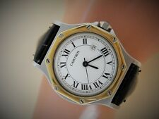 MENS MID-SIZE CARTIER SANTOS OCTAGONAL SOLID 18K GOLD & STEEL AUTOMATIC WATCH