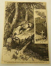 1881 magazine engraving ~ WOMAN SECRETLY WATCHES COUPLE IN THE WOODS