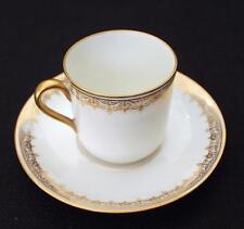 Vintage Theodore Haviland Limoges France Gold Filigree Demitasse Cup & Saucer