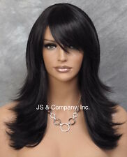 Straight Flip Flare out wig layers and bangs Jet Black center dot top HHJS 1