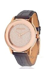 NEW WOMENS MICHAEL KORS (MK2456) KINLEY BLACK LEATHER ROSE GOLD TONE WATCH SALE!