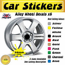Fiat 500 Abarth Alloy Wheel Stickers Decals 50mm x6 Free UK Postage