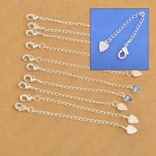 Pure 925 Sterling Silver Chain Extender w/Heart Tag Lobster Clasp F/Necklace 1pc