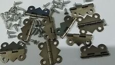 10 24x20mm  STEEL MINIATURE SMALL DOOR HINGES & SCREWS DOLLHOUSE JEWELRY BOX