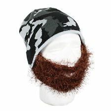 Beard Head - Bushy Maverick - Knitted Grey Camo Beanie & Brown Bushy Beard