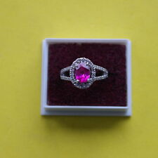 2.00 Carat 14KT White Gold Natural Pink Tourmaline & EGL Certified Diamond Ring