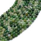 "15"" Strand 4mm Faceted Round Nature Moss Agate Gemstone Loose Spacers Beads"