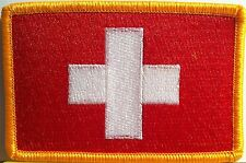 Switzerland Flag Military Patch With VELCRO® Brand Fastener Gold Version