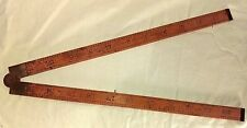 Vintage Lufkin Folding Ruler Boxwood and Brass Rule No. 702 1930's RARE 24""