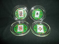 POKER CARD GLASS PARTY COASTERS FROM FRANCE LUMINARC SET OF 4