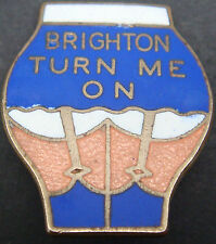 BRIGHTON & HOVE ALBION TURN ME ON Rare vintage Badge Make P&G SPORTS 25mm x 31mm