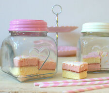 PINK SHABBY CHIC RETRO GLASS KITCHEN STORAGE SWEETS BISCUITS JAR WITH HEART