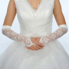 Elegant Ivory Lace Fingerless Elbow Length Bridal Wedding Gloves for Party Prom