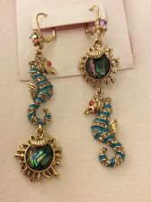 $45 Betsey Johnson  Betsey and The Sea  Seahorse & Stone Mismatch Drop Earrings