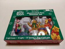 Disney Winnie The Pooh Tree Trimmer Set 5 Covers 10 Christmas Lights w/Packaging