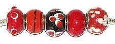Red Glass Bead Charm X5 European Bracelet Necklace Love Valentine Sexy