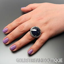 CLYDE DUNEIER 925 SILVER ROUND FACETED SAPPHIRE SWIRLS PATTERNED COCKTAIL RING