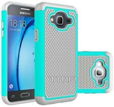 Samsung Galaxy J3 J3(6) Rugged Rubber Impact Hybrid Hard Case - Teal / Gray
