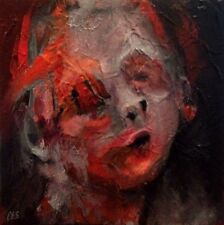 Orig. HALLOWEEN Painting by CES - Art OUTSIDER HORROR Dark Creepy Face Red EBSQ