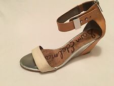 """Sam Edelman """"Sophie"""" Two Tone Ankle Strap Leather Wedges Nude/White Size 9M"""