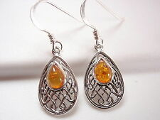 Amber Earrings 925 Sterling Silver Dangle Corona Sun Jewelry