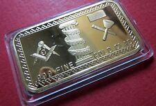 MASONIC BULLION GOLD-CLAD BAR w/ MASON's LOGO, NICE ATTACHMENT on Your DASHBOARD
