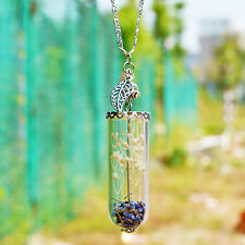 Handmade Lavender Wish Pendant Leaf Crystal Glass Bottle Necklace Birthday Gift