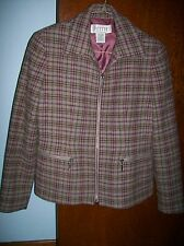 Petite Sophisticate Plaid Heavy Wool Blend Zip-Front Blazer Jacket Size 2P