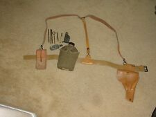 FRENCH FOREIGN LEGION PISTOL HOLSTER, MAT-49 LOADER/CLEAN KIT, CANTEEN & STRAPS