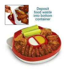 Hot Wing Plate, Hide Away Platter With 3 Compartments-Red,Chicken wings, 2 pcs