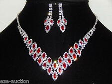 Marvelous Red Ruby Rhinestone, Silver Party Jewelry Sets Necklace and Earrings