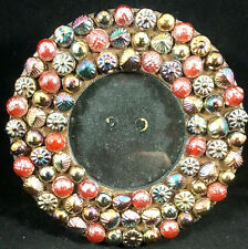 """ORNATE Beaded Jeweled 2.5"""" Small Round Wood Standing Picture Photo Frame"""