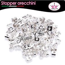 100 retro base orecchini a perno farfalla tono argento RODIATO, minuteria bijoux