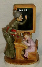 "Lefton China Figurine TEACHER and Girl At Chalkboard 2751 Vtg 7"" Taiwan Apple"