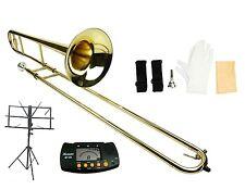 NEW Merano Gold Brass Trombone,Case,Tuner,Music Stand ~ Student to Intermediate
