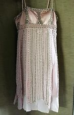 Vintage SUE WONG NOCTURN Spaghetti Strap Beaded SILK Cocktail or Prom Dress Sz 6