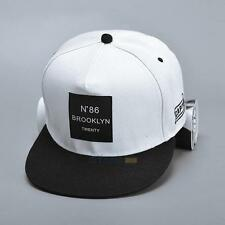 Men Unisex Bboy Hip Hop Adjustable Baseball Snapback Hat Unisex Cap Print White